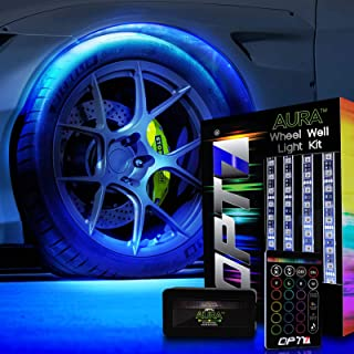 OPT7 Aura Wheel Well RGB LED Kit w/Wireless Remote, Multicolor Tire Rim Lights for Cars | 3-Into-1 16+ Smart-Color Waterproof Strips w/SoundSync (Single Row)