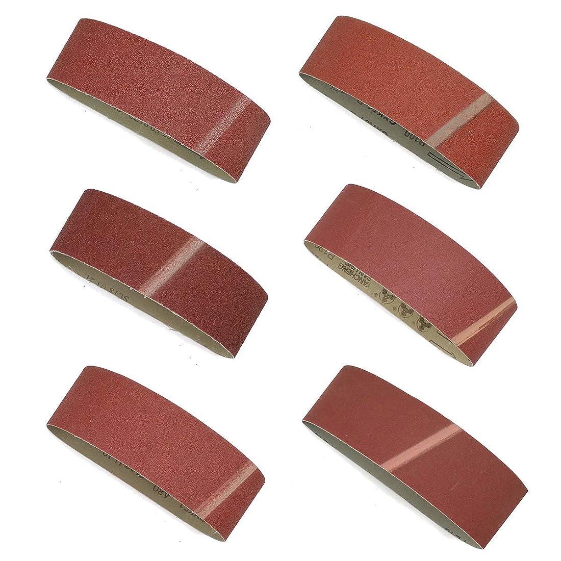 ずらすすり屈辱する研磨ベルトサンドペーパー, 幅75mm 長さ533mm 40/60/80/100/120/240グラベルメタル粉砕アルミナ 交換用 サンドペーパー サンディング ベルト DIY 工具