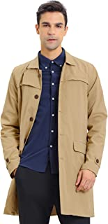 Lars Amadeus Men's Classic Long Trench Coat Single Breasted Button Down Jacket Overcoat