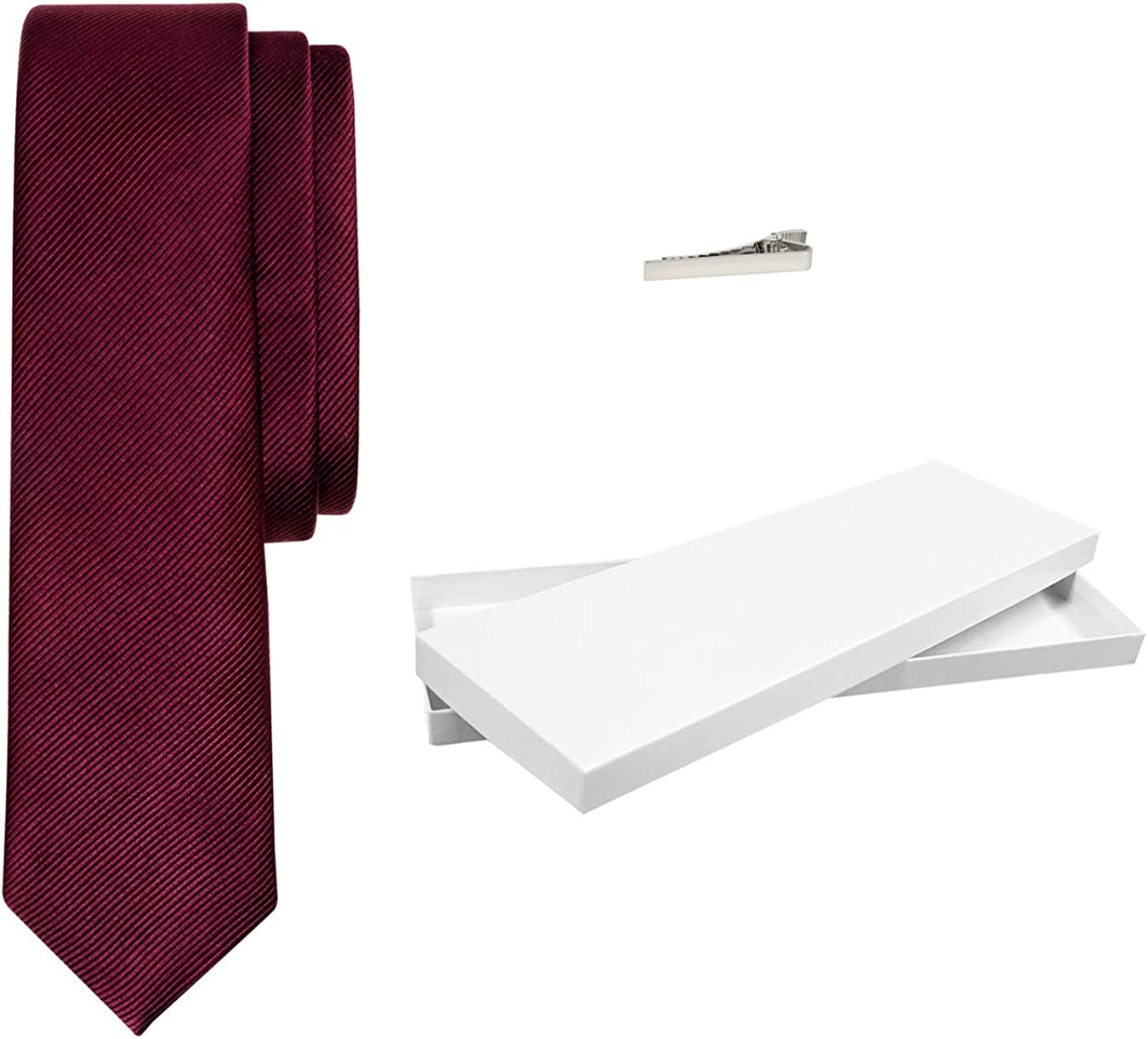 Men's Woven Max 83% OFF Solid Burgundy Silk Luxury With Bar Neck Cli Tie Al sold out.