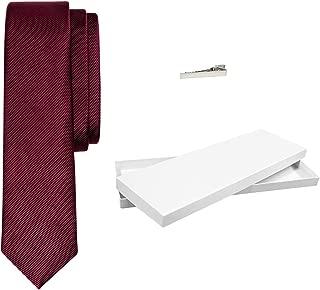 Men's Woven Solid Burgundy Silk Luxury Neck Tie With Tie Bar Clip & White Giftbox