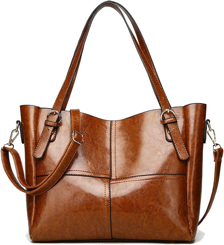 Handtaschen Europäische und amerikanische Mode Nähen Handtasche Retro Öl Wachs PU Schulter Messenger Bag (Farbe   braun) B07FKS8J58  Wunderbar