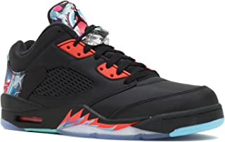 Jordan Men's Air 5 Retro Low CNY, CHINESE NEW YEAR-BLACK/BLACK-BRIGHT CRIMSON-BT BLUE, 12.5 M US