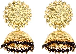 Ratna Traditional Gold Plated 4 Pearl Made Jhumka Jhumki Earring Set Women Wedding Jewelry