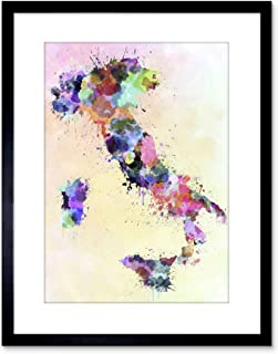 The Art Stop MAP Painting Italy Sardinia Sicily Paint Splash Colour Framed Print F97X4143
