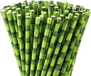 ALINK Green Bamboo Paper Straws, Biodegradable Party Drinking Straws, Pack of 100