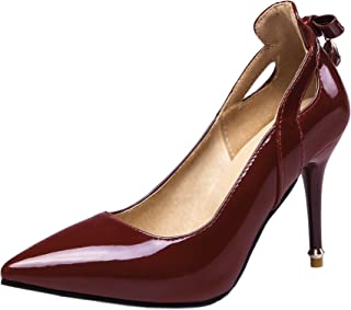 24b886b63c39 Rongzhi Womens Patent Leather High Heels Pumps Ankle Strap Buckle Stilettos  Dress Prom Shoes Pointed Toe