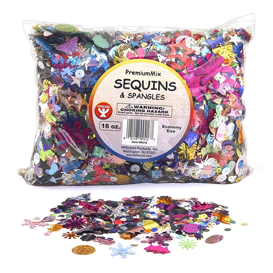 Hygloss Products Sequins and Spangles Variety Pack- Add Shimmer and Shine to Any Surface- 16 Ounce Bag