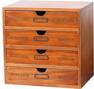 Range Dossier Caisson Bureau Armoire Classeur Mini classeur rustique, Petit organisateur de classement en bois Pour le bur...