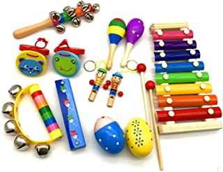 Musical Instruments Set for Kids and Toddlers, 12Pcs Wooden Percussion Instruments Toys for Kids Playing Preschool Educati...