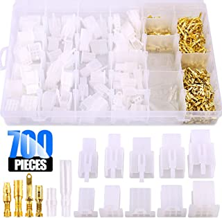 Glarks 700Pcs 2.8mm 2 3 4 6 9 Pin Plug Housing Pin Header Crimp Electrical Wire Terminals Connector and 30 Sets 4mm Car Motorcycle Bullet Terminal Assortment Kit for Motorcycle, Bike, Car, Boats