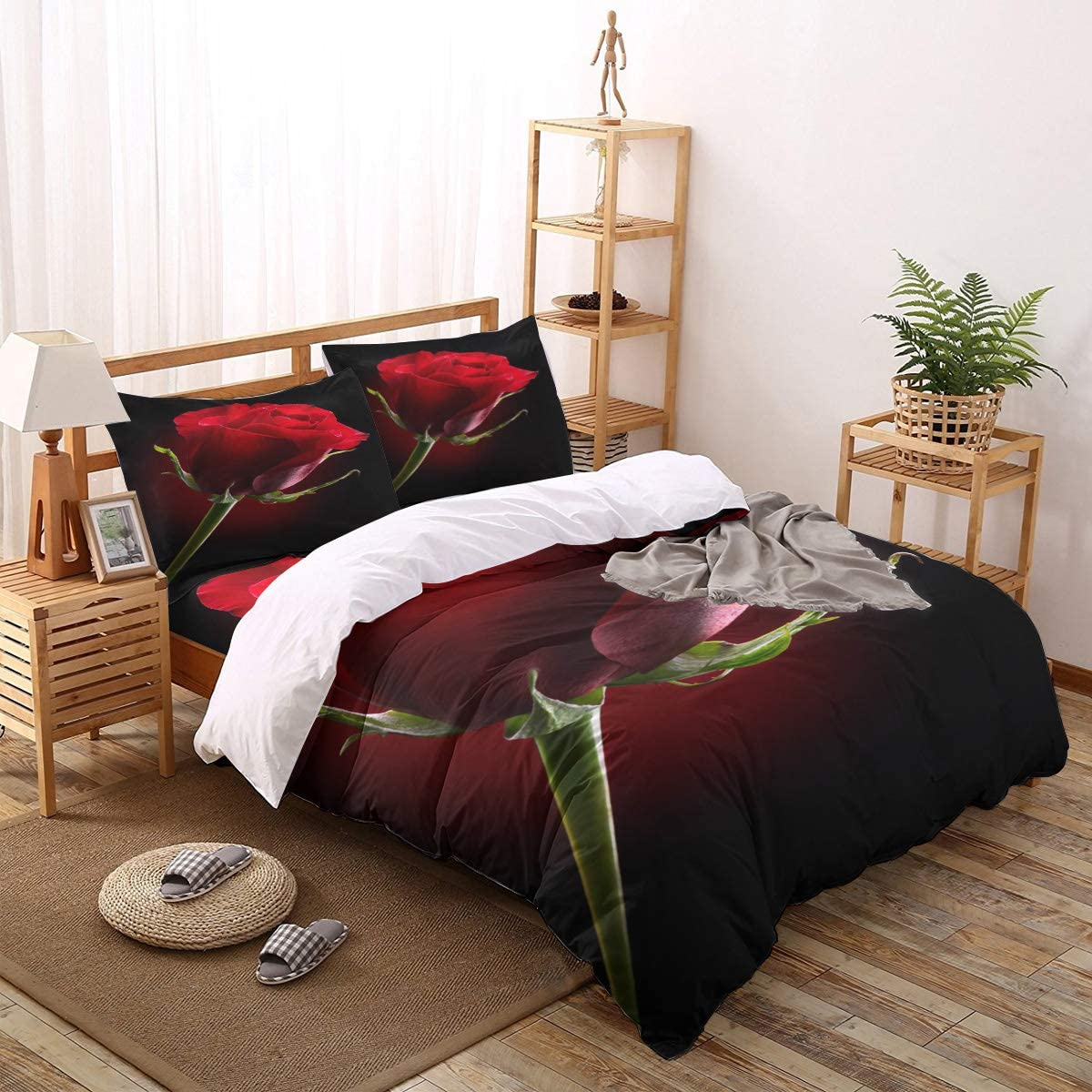Olivefox 4 PCS Bedding Set Comforter Max 44% OFF Cover Romantic Red New mail order Rose