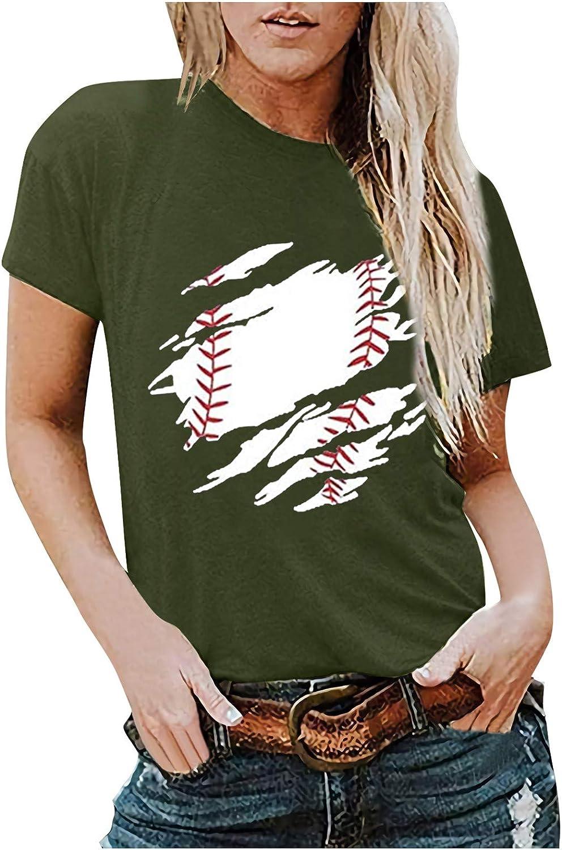 Arystk Summer Women's O Neck Concise Fashion Baseball Print Short Sleeve Vest Tees Tank Tops
