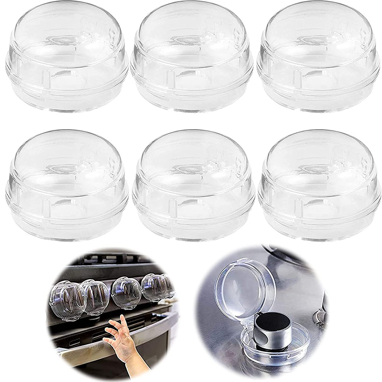 Clear Stove Knob Covers for Child Safety, 6 Pcs Child Safety Guards Baby Proof Stove Oven Locks, Gas Stoves for Kitchen, Switch Cover for Kids, Baby, Toddler