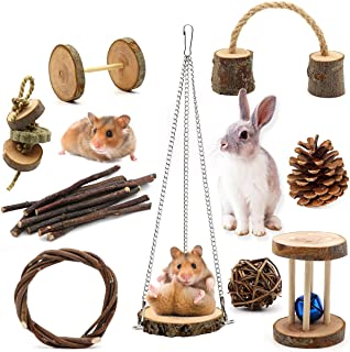 ZALALOVA Guinea Pig Toys, 9Pcs Natural Wooden Pine Hamster Chew Toys Rats Chinchillas Toys Accessories Dumbells Exercise B...