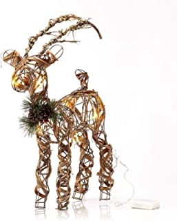 Alpine Corporation CIM160HH Rattan Reindeer and Berries Statue with LED Lights Festive Holiday Decor for Home, Garden, Lawn, 23-Inch Tall, Brown