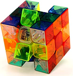 YJ Transparent Speed Cube 3x3 Stickerless Magic Cube Puzzle Toy Colorful
