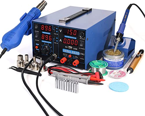 new arrival YIHUA 853D USB 3A-Three Tools- Soldering Station, Hot Air Rework 2021 Station and 2021 Power Supply 0~3A, 0-15V with output and test modes. Also ºC/°F display, Digital Cal, Sleep Function sale