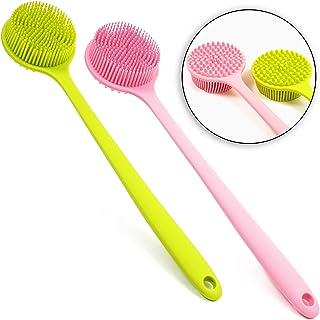 cepillo para polvo de ducha de silicona para la espalda y el cuerpo (verde, rosa, 2 unidades)
