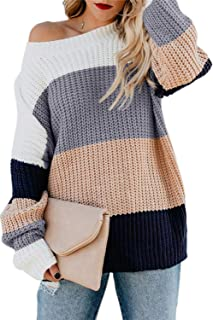 CILKOO Women's Cowl Neck Color Block Long Sleeve Chunky Cable Knit Pullover Sweater Top(S-XXL)
