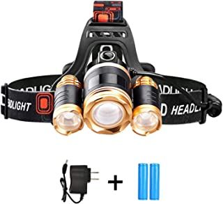 Led Headlamp Headlight Flashlight Zoomable 6000 lumen With Red Safety Light Waterproof for Camping Running Biking 1 Charger and 2 Rechargeable Batteries Included 90 Degree Adjustable