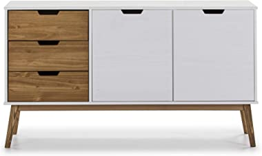 VS Venta-stock Buffet Commode Java 3 tiroir y 2 Porte Blanc