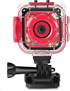 Prograce Kids Camera Underwater Waterproof Camera for Kids Camcorder for Boys Girls 4X Zoom-Christmas Edition