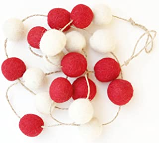 De Kulture Felt Pom Pom Garlands Set of 2 (Red and Off White)
