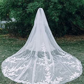 3.5 Meter White Ivory Cathedral Wedding Veils With Comb Women Lady Hair Classic Fingertip Chapel Floor Length Soft Tulle L...