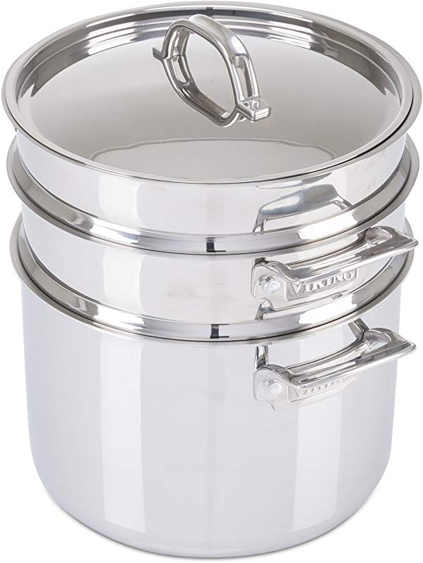 Viking 3 Ply Stainless Steel Pasta Pot With Steamer 8 Quart