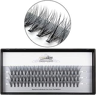 LASHVIEW 0.10mm 20 Root 14mm Medium Length Soft Individual Cluster Eyelashes Mink Fake Eyelashes Extension Handmade Grafting False Eyelashes Individual False Eyelashes Knot-free Natural Long