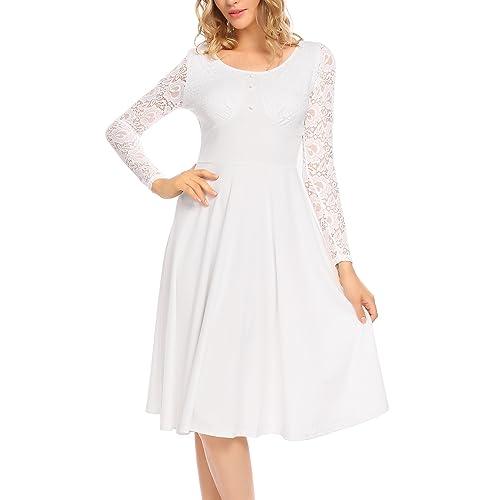dcf7480bd16 ACEVOG Women s Lace Crochet 3 4 Long Sleeve Vintage Pleated Flare Midi Dress