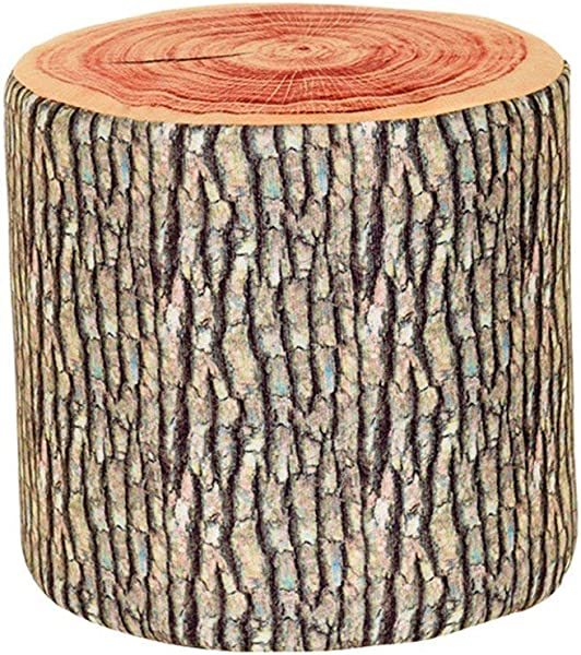 Wooden Stump Shaped Ottoman Natural Woods Upholstered Footstool Footrest Pouffe Creative Log Soft Chair Children Stool With Removable Flannelette Cover 282828cm