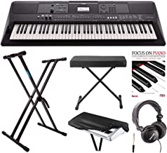 Yamaha PSREW410 76-key Portable Keyboard with Power Adapter, Knox Double X Stand, Bench,Dust Cover,Headphones and Focus Piano Book