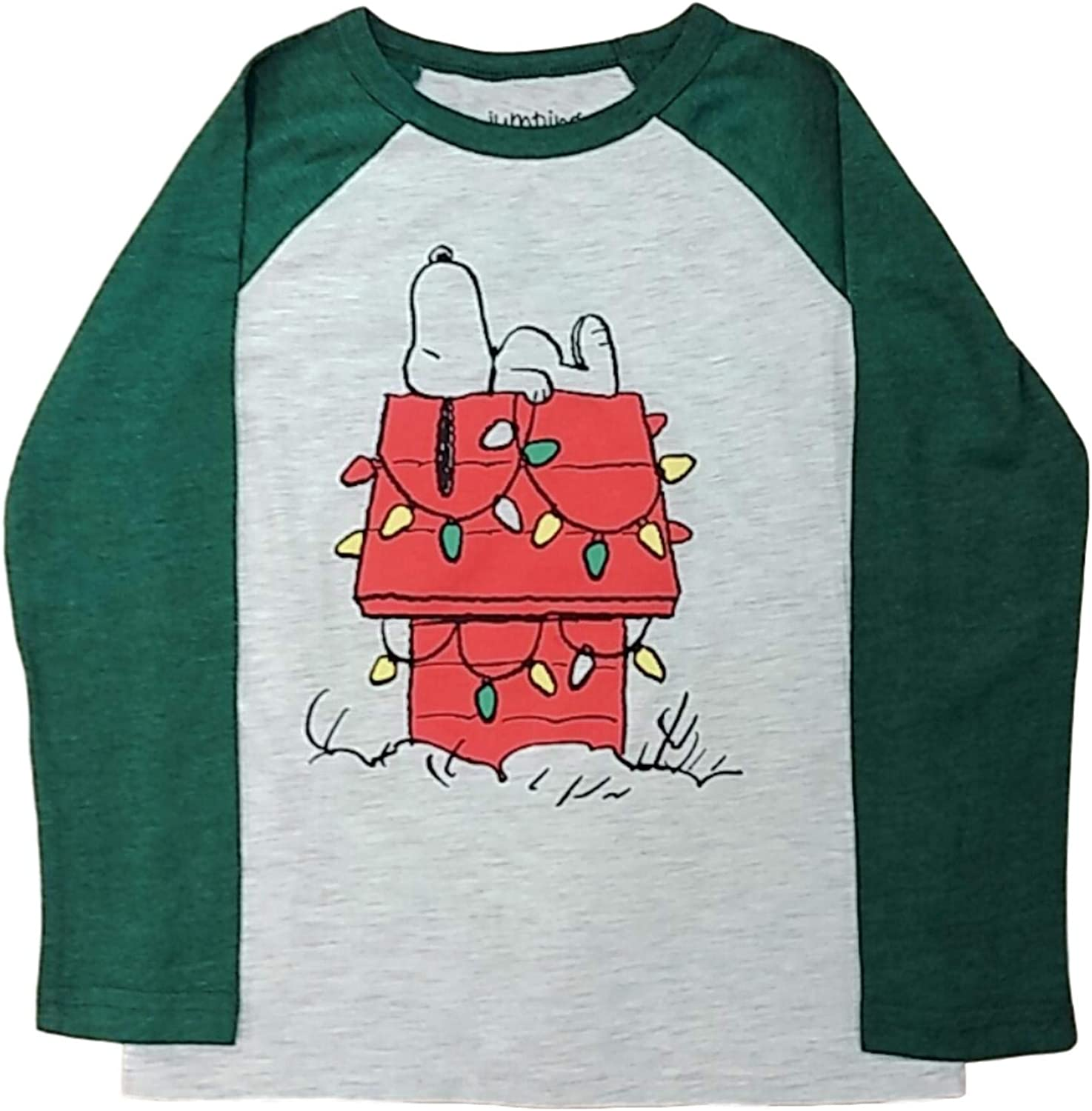 Boys 4-12 Jumping Beans Snoopy Holiday Doghouse Long Sleeve Graphic Raglan Tee, Beige/Dark Green