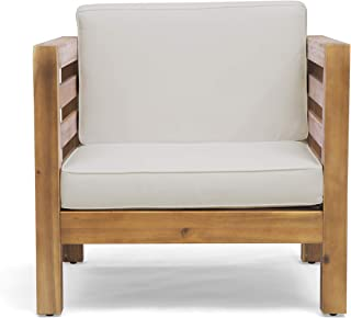 Louise Outdoor Acacia Wood Club Chair with Cushion, Teak Finish and Beige