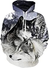 AIDEAONE Novelty 3D Print Fleece Hoodies Mens Wolf Pullover Halloween Chritmas Jumpers Hooded Sweatshirts, XL, Wolf-1
