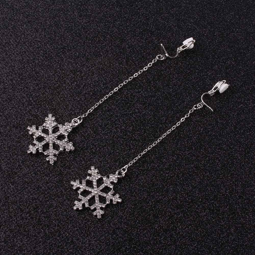 Simple Snowflake Shape Clip on Earrings Without Piercing Long Chain Earring Wholesale for Women No Hole Ear Clip