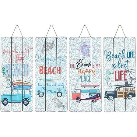 CAPRILO. Set de 4 Adornos Pared Decorativos de Madera Surf-Beach. Cuadros y Apliques. Decoración Hogar Marinera. Muebles Auxiliares. Regalos Originales. 15 x 0,90 x 34,50 cm.