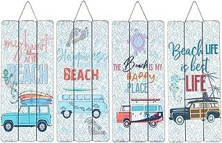 CAPRILO. Set de 4 Adornos Pared Decorativos de Madera Surf-Beach. Cuadros y Apliques. Decoración Hogar Marinera. Muebles A...