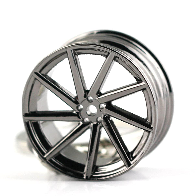Maycom Creative Hot Auto Part Model Wheel Rim Tyre Keychain Keyring Key Chain Ring Keyfob (VOSSEN Black)
