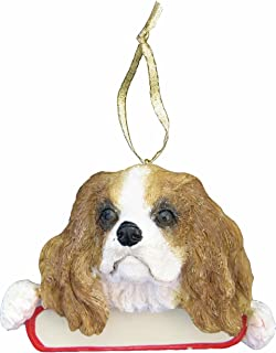 E&S Pets King Charles Cavalier Ornament Santa's Pals with Personalized Name Plate A Great Gift for King Charles Cavalier Lovers