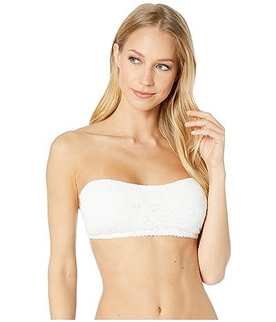 Kate Spade New York Eyelet Bandeau Bikini Top w/ Removable Soft Cups (White) Women