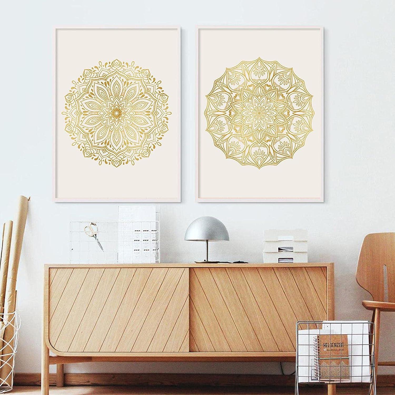 KELEQI Poster Wall Art Print Floral Gold Mandala Pictur Many popular brands Max 62% OFF Bohemian
