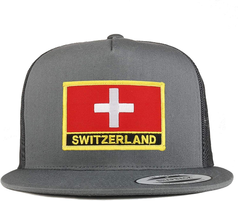 Trendy Apparel Shop Flexfit XXL Switzerland Flag 5 Panel Flatbill Trucker Mesh Snapback Cap