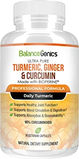 BalanceGenics Turmeric and Ginger plus Curcumin with BioPerine for Superior Absorption | Max Potency Available | Healthy I...