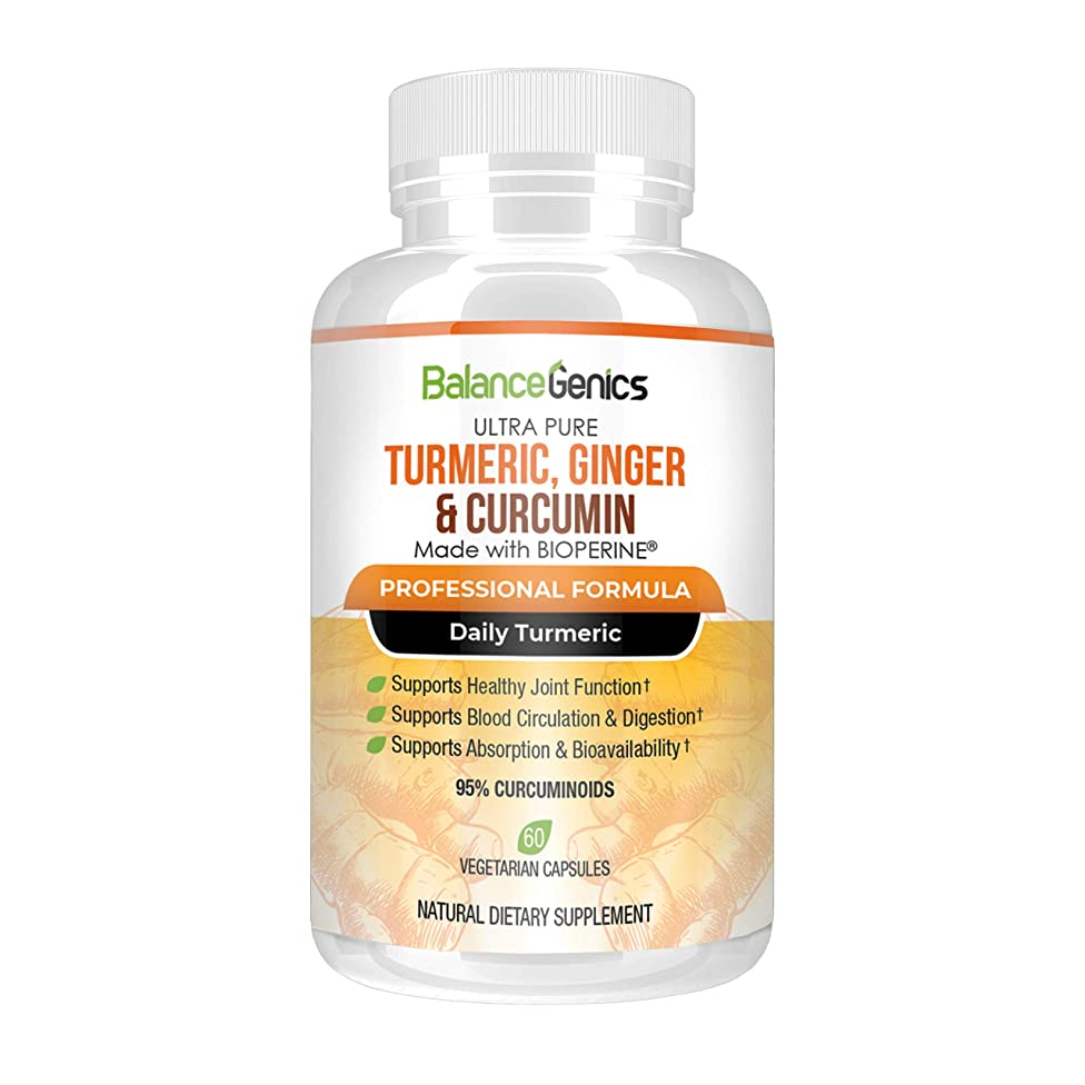 Turmeric 95% Curcuminoids Ginger and Curcumin with BioPerine for Superior Absorption (60 Veggie Capsules) Max Potency Available. Inflammation and Joint Support. A Natural Dietary Supplement