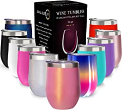 CHILLOUT LIFE 12 oz Stainless Steel Tumbler with Lid & Gift Box   Wine Tumbler Double Wall Vacuum Insulated Travel Tumbler Cup for Coffee, Wine, Cocktails, Ice Cream - Sparkle Tumbler