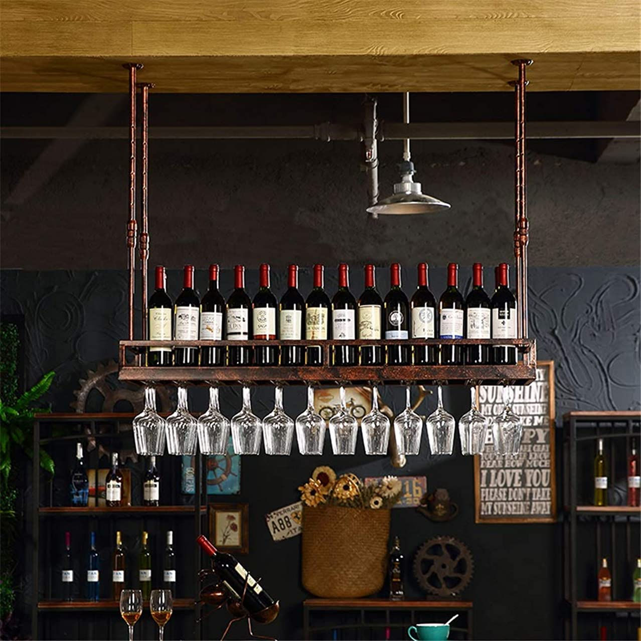 追放する栄光のコミュニティワインラック ワイングラスラック逆さまゴブレットラックワインボトルラックぶら下げカップホルダークリエイティブワインラック装飾ホーム ワインラックワイン収納 (色 : ブロンズ, サイズ : 50x35cm)