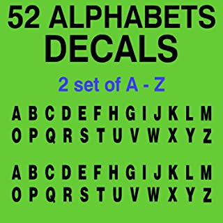 "52 A-Z Alphabet Letters Vinyl Decal 2 Sets of 26 Alphabet Stickers for Labels Bins Racks Name Boat Car Helmet Door(Size: 0.5"" Tall to 5"" Tall)"